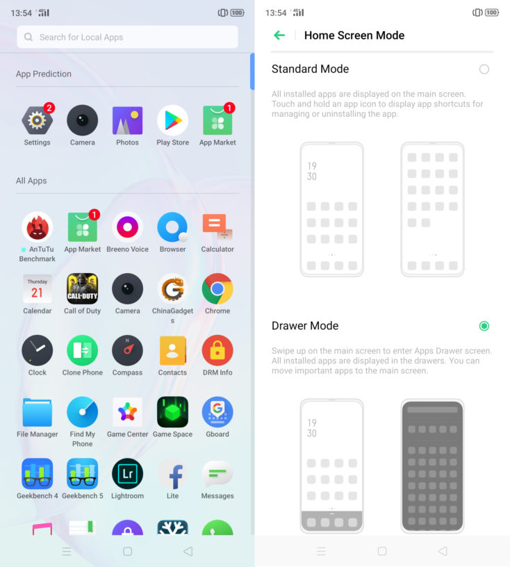 Armario de aplicaciones y ajustes de pantalla