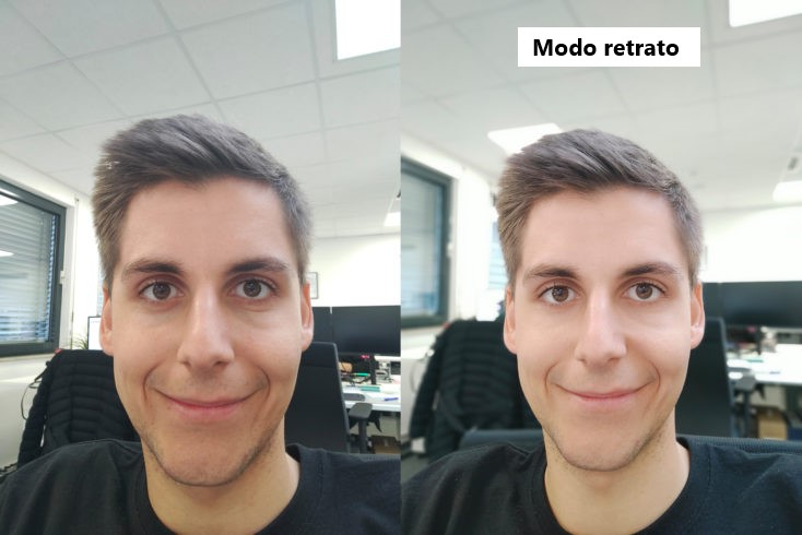 Selfie en modo normal y en modo retrato con la cámara frontal