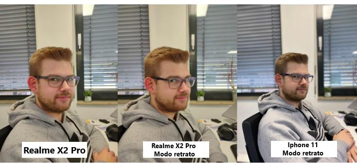 Comparación del modo retrato con el Realme X2 Pro y el Iphone 11