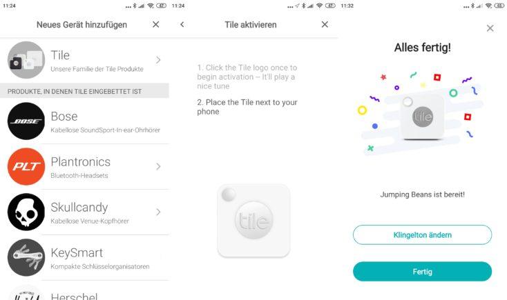 Marcas asociadas con Tile y activación del localizador Tile desde la App