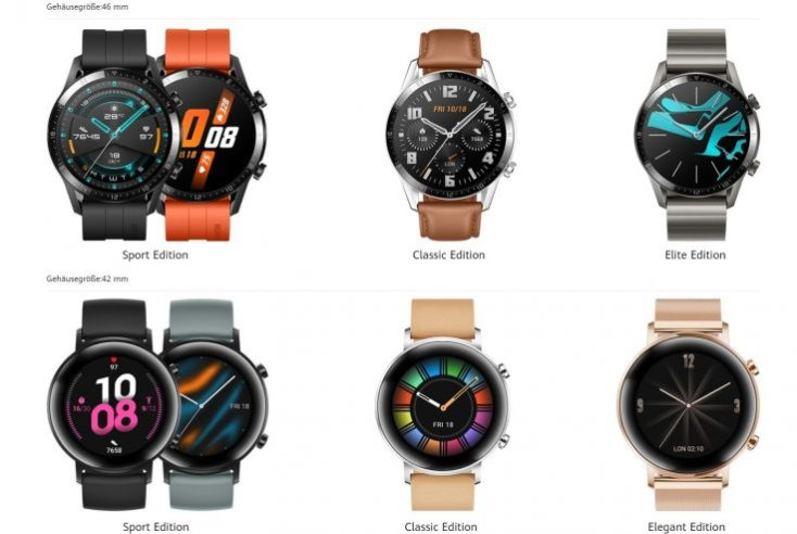 Distintas ediciones delsmartwatch Huawei Watch GT 2