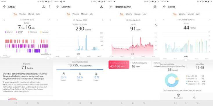 Captura de pantalla de la monitorización del sueño, los pasos, el pulso y el estrés en la App del smartwatch Huawei Watch GT 2