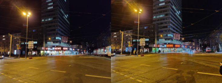 Foto de prueba de la calle con el sensor ultra gran angular y el modo noche de la cámara principal del OnePlus 7T