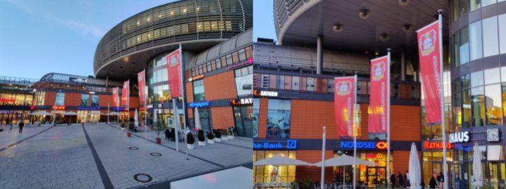 Foto de prueba del centro comercial con el sensor ultra gran angular y el zoom con la cámara principal del OnePlus 7T