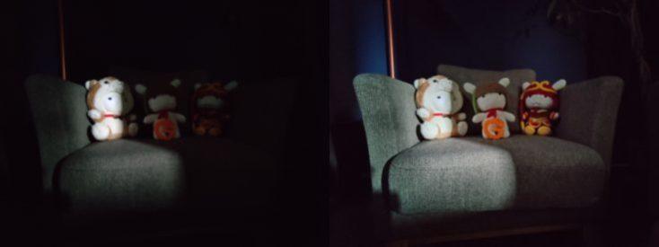 Foto de prueba deunos peluches con el sensor ultra gran angular y el modo noche de la cámara principal del OnePlus 7T
