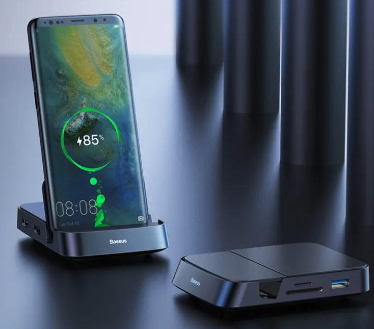 Replicador de puertos Baseus 7 en 1 cargando un smartphone
