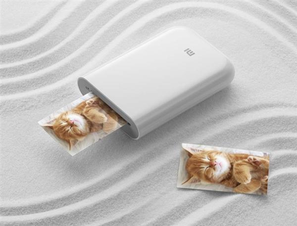 Impresora Xiaomi de fotos de bolsillo imprimiendo una foto de un gato