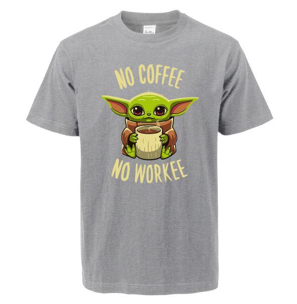 Baby Yoda Camiseta No Coffee No Workee en gris