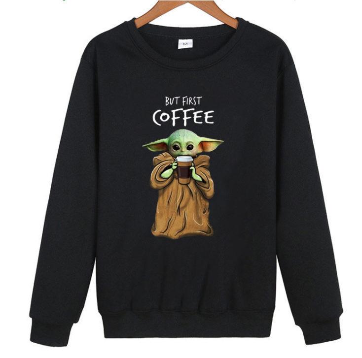 jersey de Baby Yoda but First Coffee en negro
