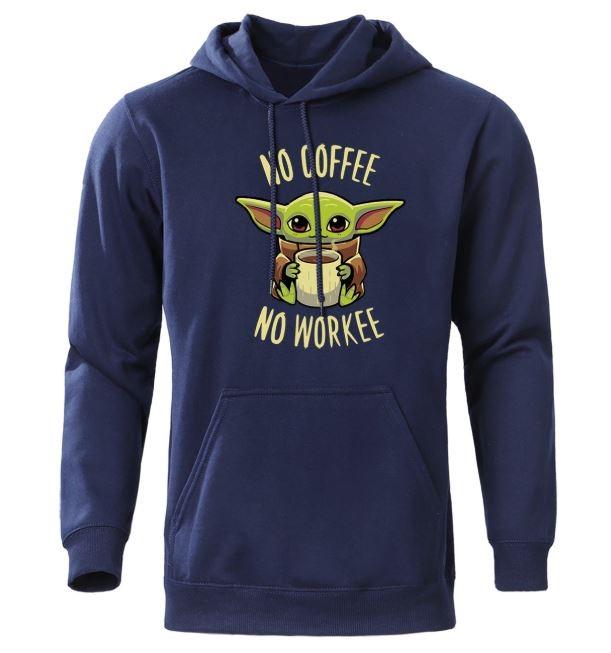 Sudadera con capucha de Baby Yoda No Coffee No Workee en azul marino