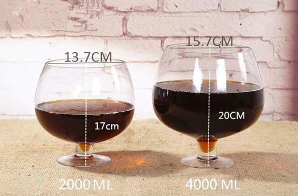Medidas de las copas de vino gigantes de 2l y 4l
