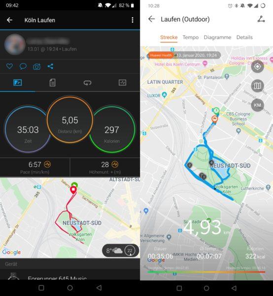 Recorrido de una carrera en la aplicación del Smartwatch Honor MagicWatch 2 y del Garmin Forerunner 645