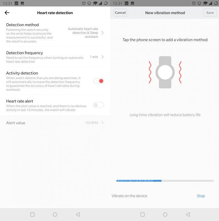 Ajustes de vibración desde la App del Distintos modelos del Huami Amazfit GTR