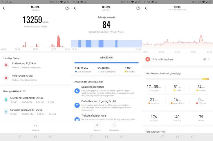 Capturas de pantalla del eguimiento de la distancia recorrida, el sueño y el pulso en la App del Huami Amazfit GTR