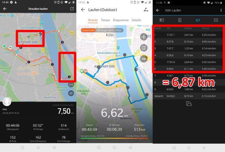 Registro de una carrera con distintos valores en la App del Huami Amazfit GTR, el Honor Watch Magic y el Garmin Forerunner 645