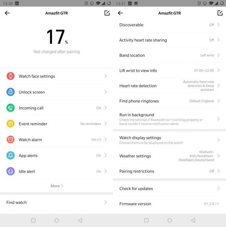 Ajustes del la App del Distintos modelos del Huami Amazfit GTR