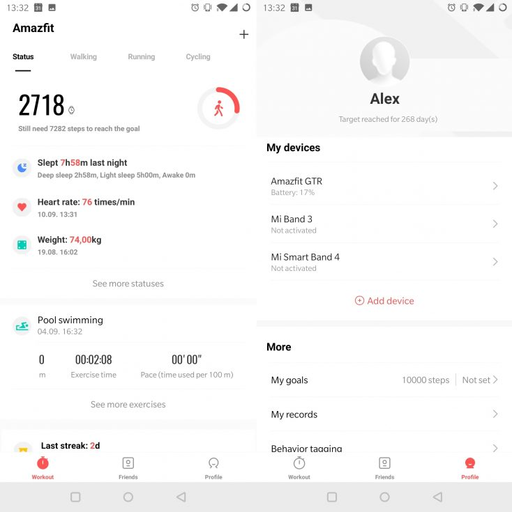 Capturas de pantalla del la App del Distintos modelos del Huami Amazfit GTR