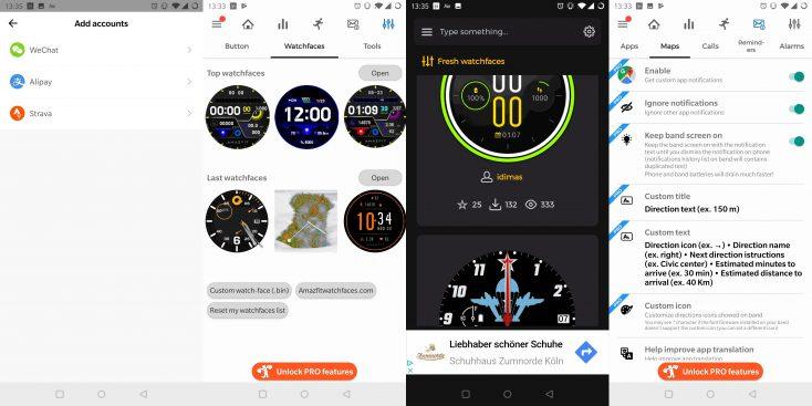 Capturas de pantalla de las personalizaciones y mapas de la App del Distintos modelos del Huami Amazfit GTR