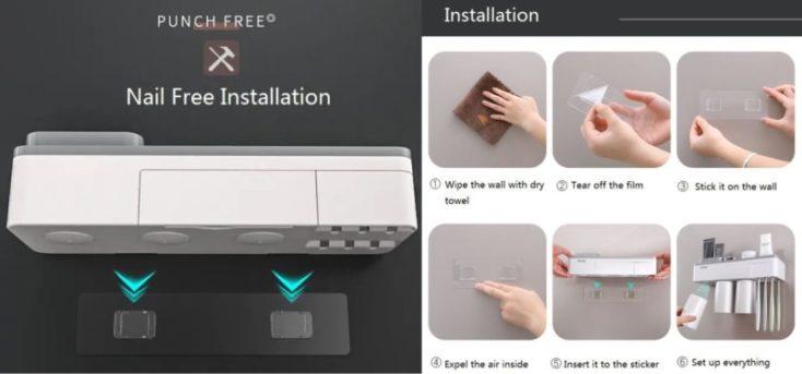 Instrucciones de cómo colocar el organizador de baño