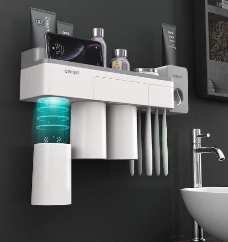 Organizador de baño con superficie inferior magnetica