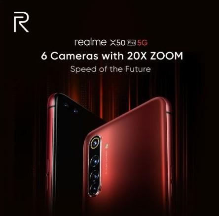 Poster publicitario de las 6 cámaras del Realme X50 Pro 5G