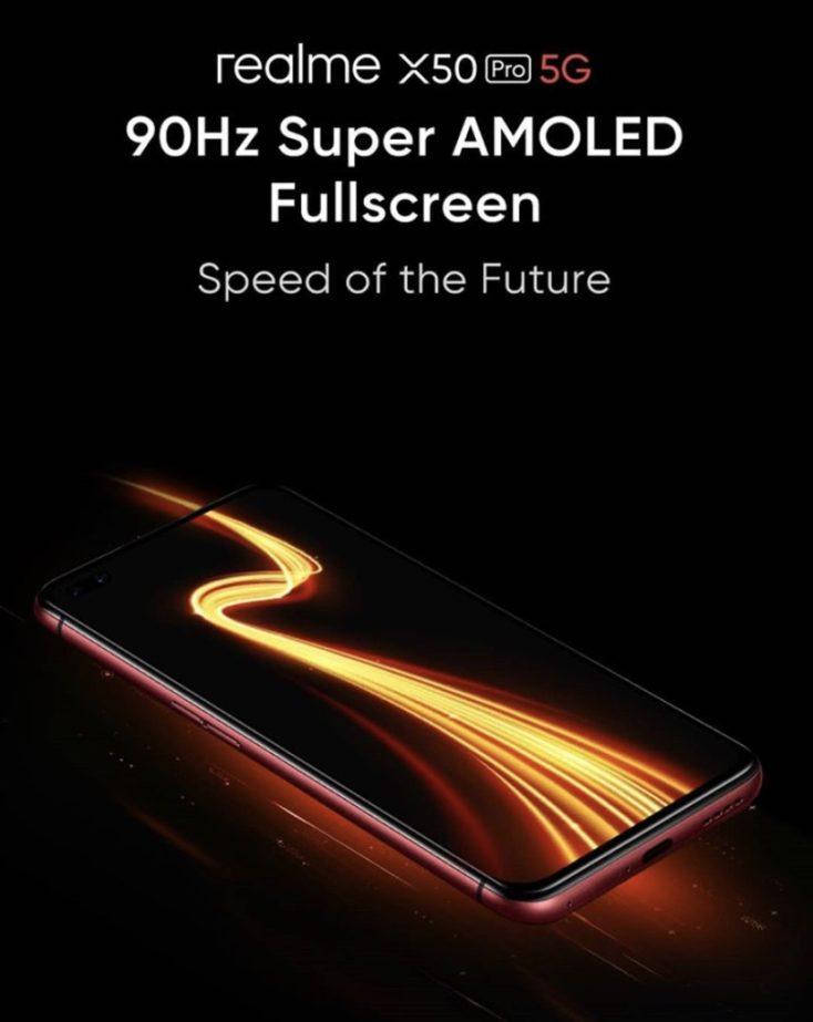 Poster publicitario de la pantalla 90 Hz del Realme X50 Pro 5G