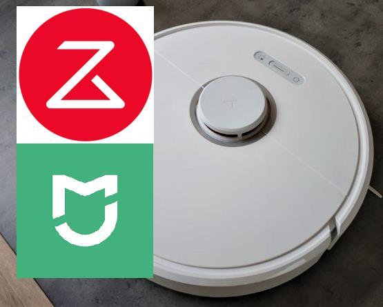 Logo de Roborock y de Xiaomi Mi Home y el robot aspirador Roborock S6