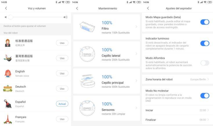 Capturas de pantalla de la App de Xiaomi Mi Home de los ajustes del Roborock S6 Pure