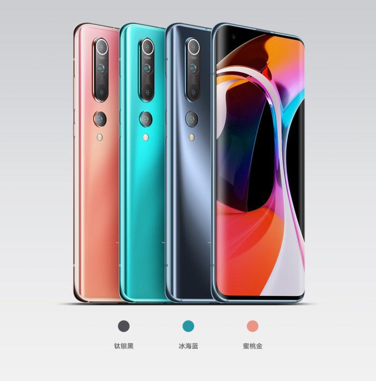 Xiaomi Mi 10 en diferentes colores