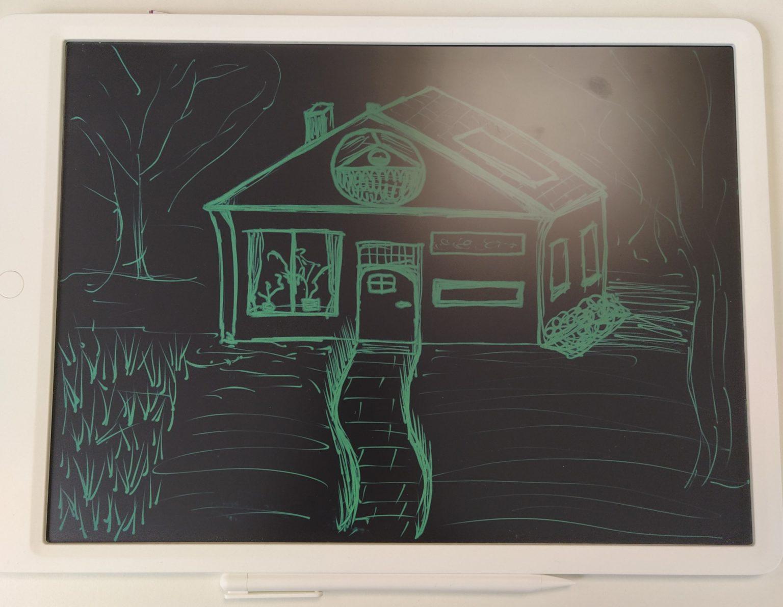 Dibujo de una casa hecho con la tablet gráfica LCD de Xiaomi Mijia