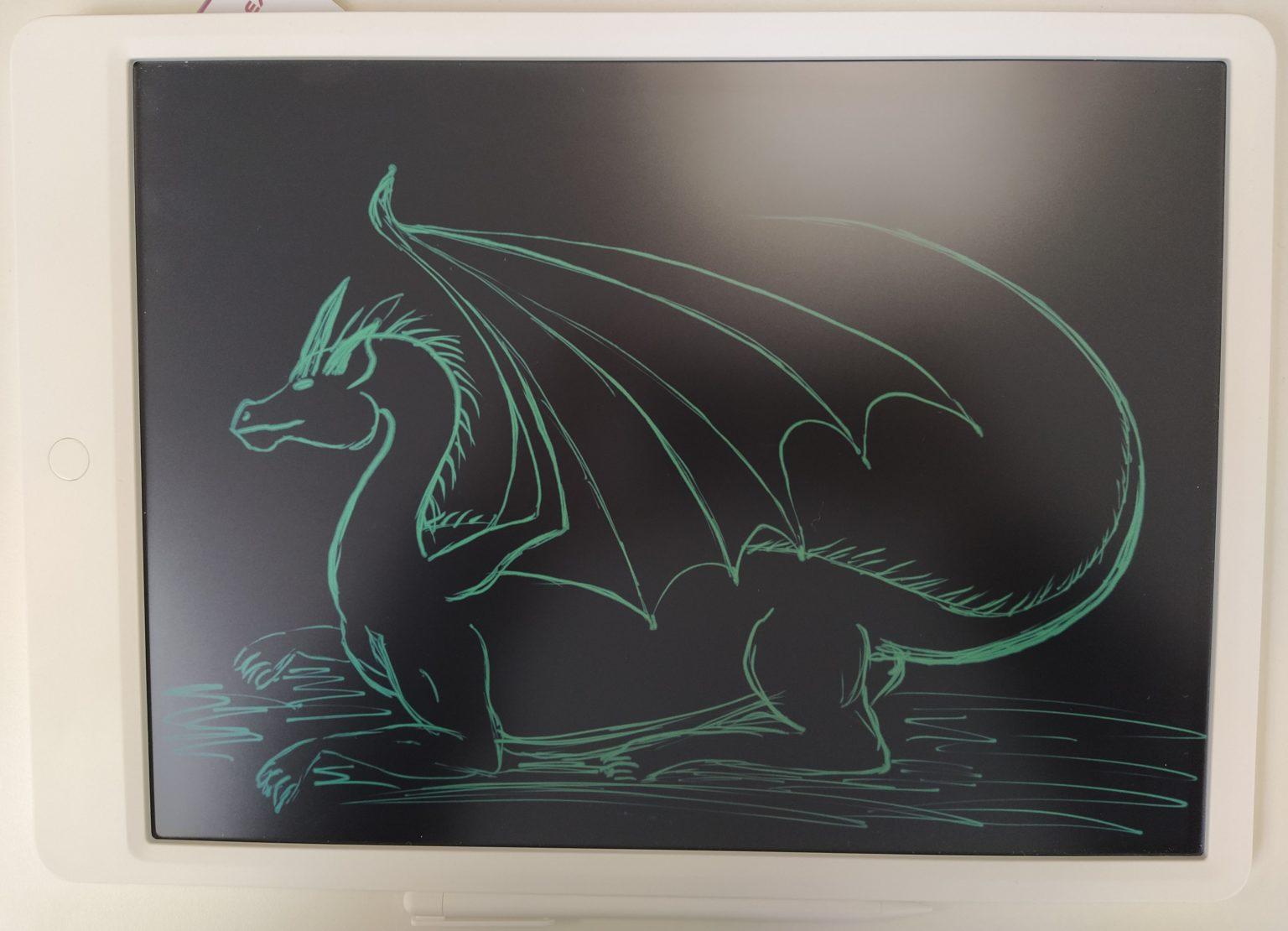 Dibujo de un dragón hecho con la tablet gráfica LCD de Xiaomi Mijia
