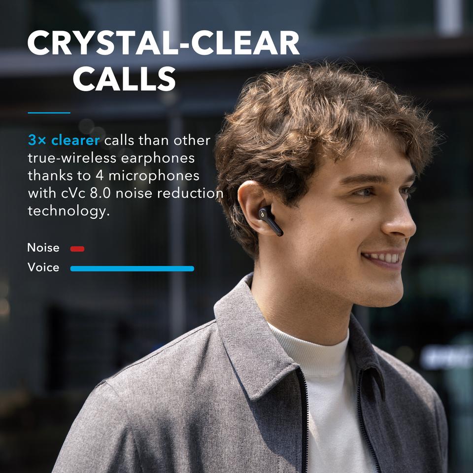 Poster promocional de los Auriculares Bluetooth Anker Soundcore Liberty Air 2 y su reducción de ruido