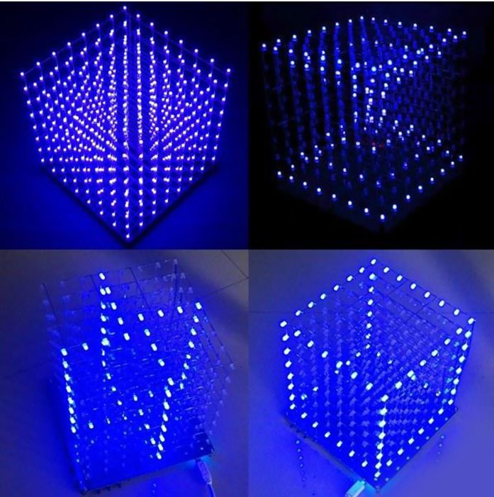 Cubo LED iluminado en azul con diferentes formas