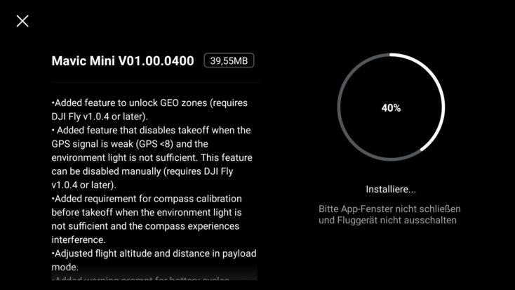 Captura de pantalla de la actualización del firware de la App DJI Fly