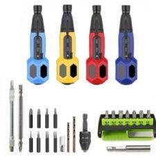 Mini destornillador elctrico Weijia y sus accesorios