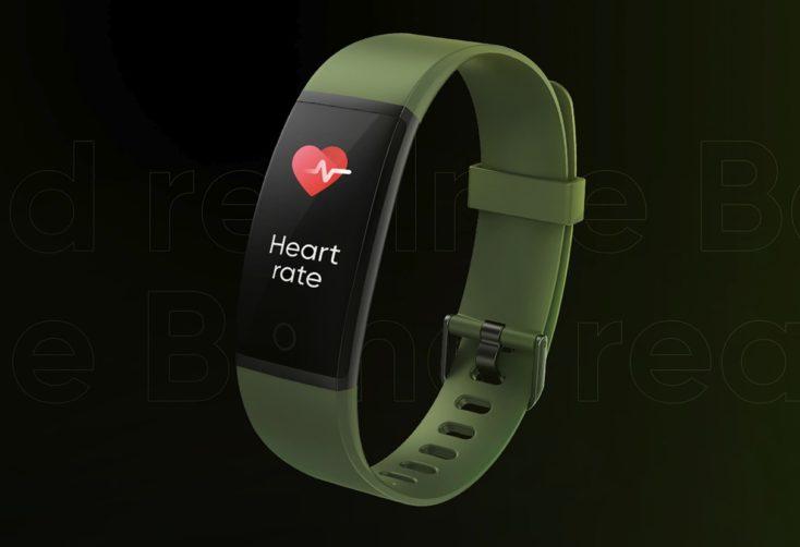 Diseño de la pulsera de actividad Realme Band en verde