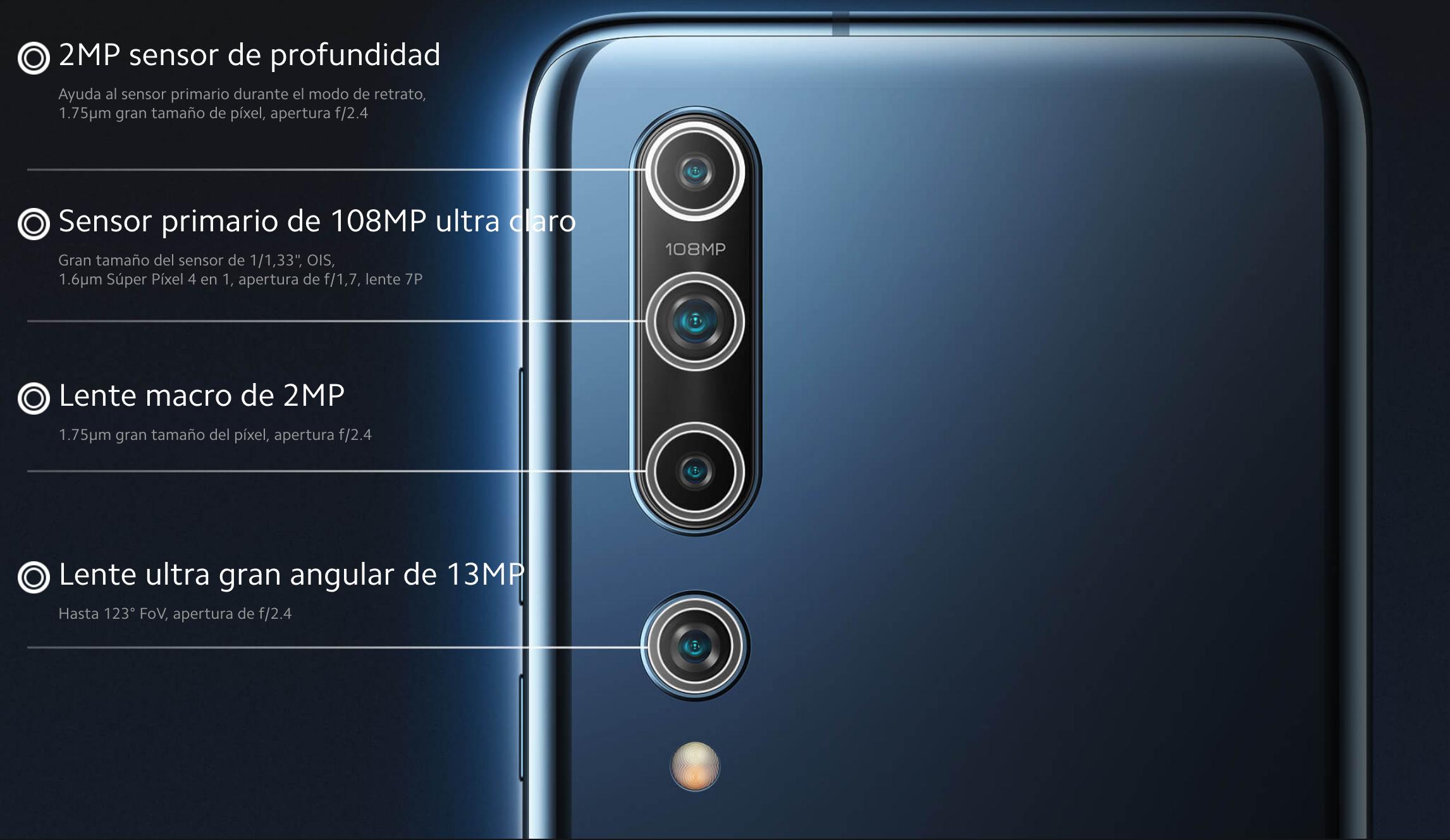 Especificaciones de la cámara trasera del Xiaomi MI 10