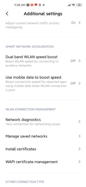 Configuraciones del las redes del Xiaomi Mi 10