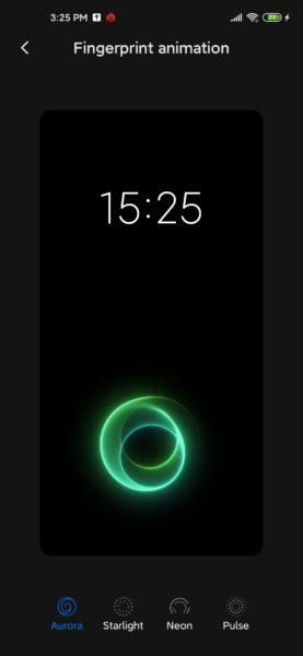 Animacion del sensor de huellas dactilares del Xiaomi Mi 10