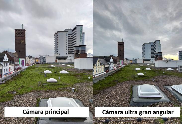 Foto de prueba del tejado con el modo ultra gran angular de la cámara principal del Xiaomi Mi 10 y del iPhone 11