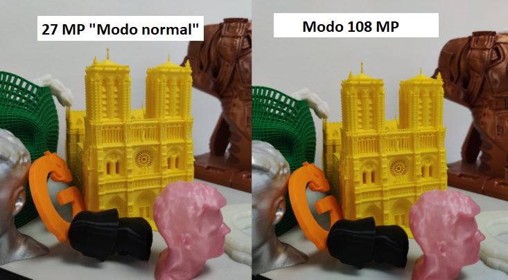 Foto de prueba de impresiones 3D con el modo de 27 Mp y el de 108 MP con la cámara principal del Xiaomi Mi 10