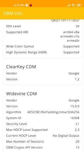 Widewine nivel 1 en elñ Xiaomi Mi 10
