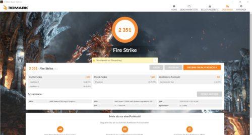 Resultados del Benchmark 3D Mark Fire Strike del Huawei MateBook D14 AMD 2020