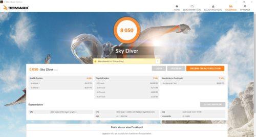 Resultados del Benchmark 3D Mark Sly Driver del Huawei MateBook D14 AMD 2020