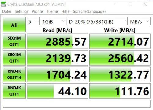 Resultados del Benchmark CrystalDiskMark Memoria del Huawei MateBook AMD 2020