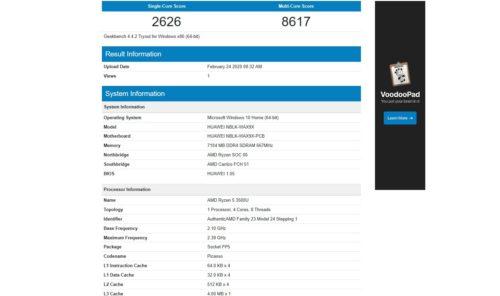 Resultados del Benchmark Geekbench 4 CPU del Huawei MateBook AMD 2020