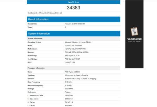 Resultados del Benchmark Geekbench 4 OpenCL Graficos del Huawei MateBook AMD 2020