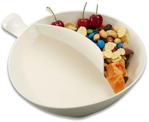 Cuenco para cereales de dos compartimentos preparado