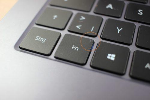 Tecla FN en el teclado del Huawei MateBook D14 AMD 2020