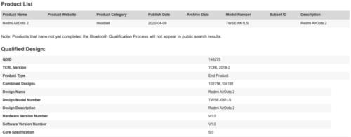 Datos oficiales de los Auriculares bluetooth Redmi AirDots S